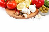 Set fresh vegetables isolated on white background — Stock Photo