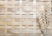 Ears spike of wheat on wood texture background — Stock Photo