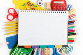 Office and student accessories isolated over white background. B — Stock Photo