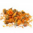 Herbs. Dried calendula or pot marigold flowers isolated on white — Stock Photo