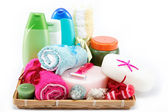 Personal hygiene items. Accessories for sauna or spa in a woode — Stock Photo