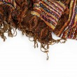 Shawl or scarf with tassels, isolated on white background. — 图库照片