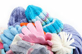 Winter accessory collection. Hat, scarf and mittens, isolated on — Stock Photo