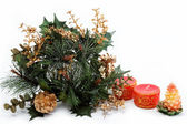 Christmas decoration isolated on white background. The branch at — Stock Photo