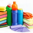 Detergent bottles, rubber gloves and cleaning sponge on white — Stock Photo #13875677