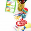 Stock Photo: Office and student accessories on white background. Back to scho