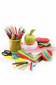 School and office supplies on white background, back to school — Stock Photo