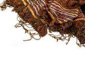 Chal o bufanda con borlas, aislado sobre fondo blanco. — Foto de Stock