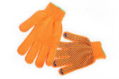 Orange work gloves isolated on white background. — Stock Photo