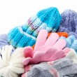 Winter accessory collection. Hat, scarf and mittens, isolated on — Foto Stock