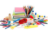 School and office supplies on white background. Back to school. — Stock Photo