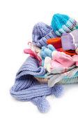 Zimní příslušenství kolekce. čepici, šálu a rukavice v dotyk — Stock fotografie
