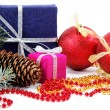 Christmas decorations and gifts on a white background — Стоковая фотография