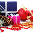 Stock Photo: Christmas decorations and gifts on a white background
