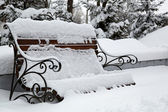 Snowy winter in the park. Bench covered in snow. — Stock Photo