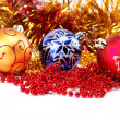 Christmas-tree decorations on a white background — Stock Photo