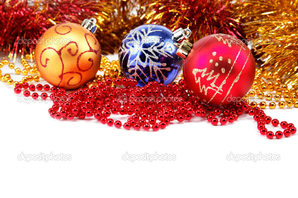Christmas-tree decorations on a white background — Stock Photo #15768529