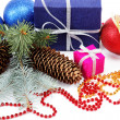 Christmas decorations and gifts on a white background — Stock Photo