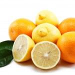Fresh citrus fruits isolated on a white background. — Stock Photo