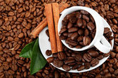 Cup with coffee beans and cinnamon sticks. — Stock Photo