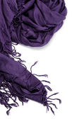 Purple scarf with tassels, isolated on white background. — Stock Photo