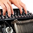 Female hands typing on the keyboard of the old mechanical typewr — Stock Photo