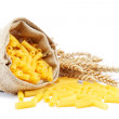 Pasta in a canvas bag and ear on white background. — Foto de Stock