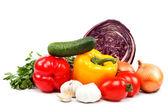 Sağlıklı gıda. beyaz zemin üzerine taze sebze. — Stok fotoğraf