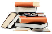 A stack of books on a white background. — Stock Photo