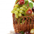 Fresh fruits in a basket on white background. Set of different. - Stok fotoğraf