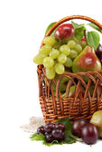 Fresh fruits in a basket on white background. Set of different. — Stock Photo