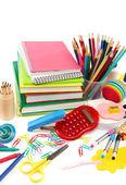 Fournitures scolaires et de bureau sur fond blanc. retour à l'école. — Photo