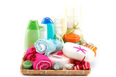 Personal hygiene items. Accessories for sauna or spa in a wooden — Stock Photo
