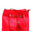 Red women's handbag on white background. — Stock Photo
