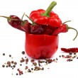 Red pepper and spices on a white background. — Stock Photo