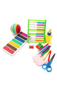 Office and student accessories on a white. Back to school concep — Stock Photo