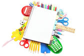 Office and student accessories over white. Back to school. — Stock Photo
