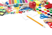 Office and student accessories on a white. Back to school concep — Foto Stock
