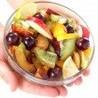 Women's hands holding bowl with fresh fruits salad on white back — Lizenzfreies Foto