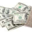 Stockfoto: Hundred dollar bills in canvas sack isolated on white backgrou