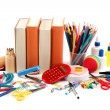School and office supplies on white background. Back to school. — Stock Photo #30083691