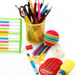 School and office supplies on white background. Back to school. — Stock Photo #30086425