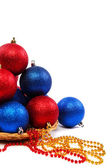 Christmas balls and decorations isolated on a white background. — Stock Photo