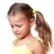 Portrait of a sad sweet little girl isolated on white background — Stock Photo #35165433