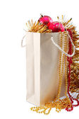 Package with christmas decorations. — Stok fotoğraf