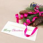 juldekorationer, en tom och en penna för gratulationer — Stockfoto