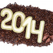 2014 on coffee beans. Happy New Year. — Stock Photo