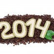 2014 figures on coffee beans. Happy New Year. — Stock Photo