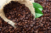 Coffee beans in a bag and green leaves . — Stock Photo