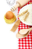 Supplies and ingredients for baking or making pasta. — Stock Photo